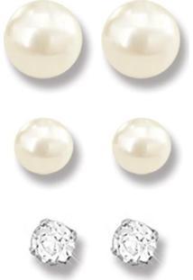 Kit Brincos Le Diamond Pérolas E Cristal Ródio Branco
