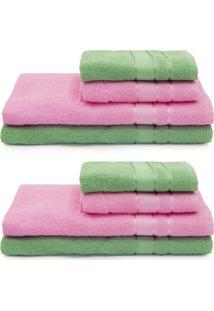 Jogo De Toalhas 8 Peã§As Dhara - Appel - Rosa/Verde - Rosa - Dafiti