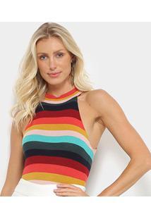 Body Farm Tricô Golinha Rainbow - Feminino-Estampado