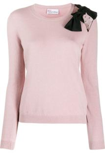 Red Valentino Bow Detailed Knitted Top - Rosa