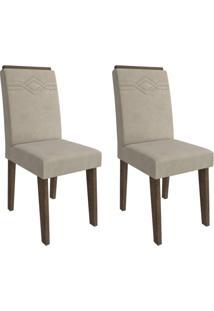 Conjunto Com 2 Cadeiras De Jantar Taís I Suede Marrocos E Bege