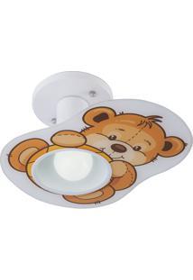 Plafon Em Vidro Para 1 Lâmpada Multhi Ursinho Branco E Bege