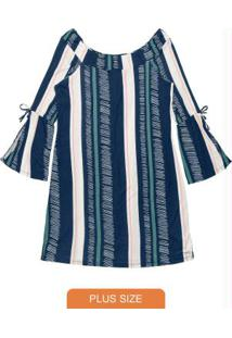 Vestido Feminino Listrado Azul