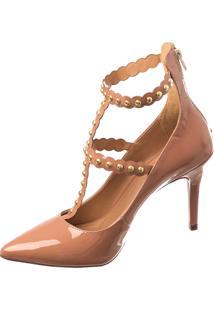 f992b577e ... Scarpin Salto Butique De Sapatos Colônia Verniz Nude Aplicação