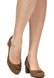 Scarpin Couro Shoestock Salto Baixo Grosso Nó - Feminino-Caramelo