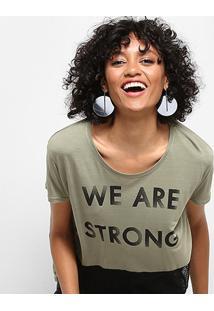 Camiseta Drezzup Estampada Com Tela Feminina - Feminino-Verde Militar