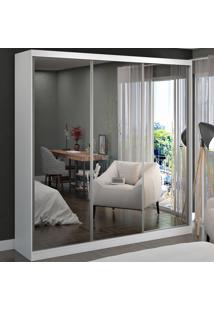 Guarda-Roupa Casal 3 Portas De Correr 3 Espelhos 100% Mdf 8803E3 Branco - Foscarini