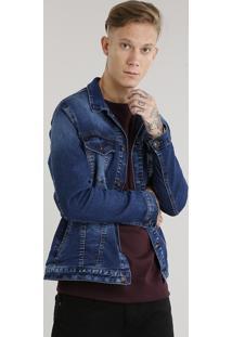 Jaqueta Masculina Jeans Manga Longa Azul Escuro