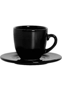 Xícara De Chá Com Pires Standard 6 Peças Preto Scalla