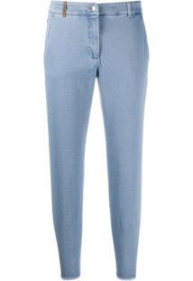 Peserico Calça Jeans Slim Cropped - Azul