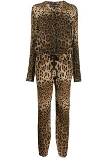 Dolce & Gabbana Macacão De Cashmere Animal Print - Marrom