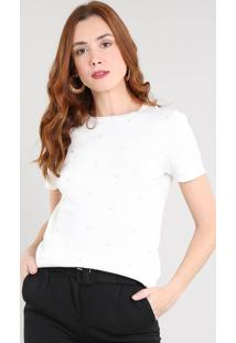 Blusa Feminina Em Tricô Com Pérolas Manga Curta Decote Redondo Off White