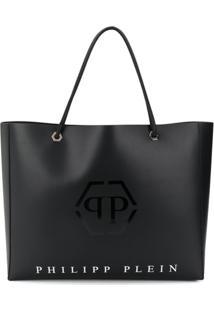 Philipp Plein Bolsa Tote Com Estampa De Logo - Preto
