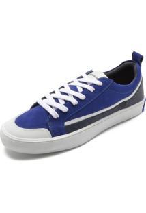 Sapatênis Couro Calvin Klein Recortes Azul