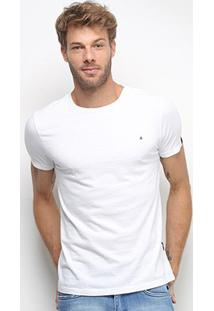 Camiseta Replay Lisa Masculina - Masculino-Branco+Preto