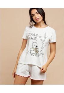 Pijama Disney Pooh Manga Curta Feminino - Feminino-Cinza