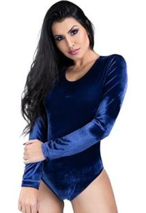 Body Mvb Modas Manga Longa Veludo Collant Feminino - Feminino-Azul