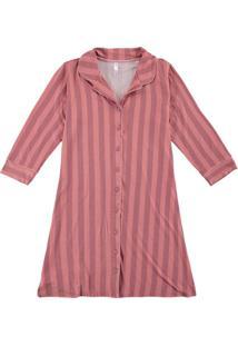 Camisola Rosa Listrada Em Viscose