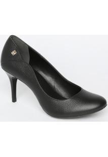 Sapato Tradicional Em Couro Com Recortes & Tag- Preto