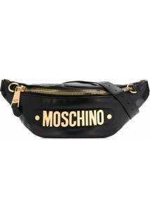 Moschino Pochete Com Placa De Logo De Letras - Preto