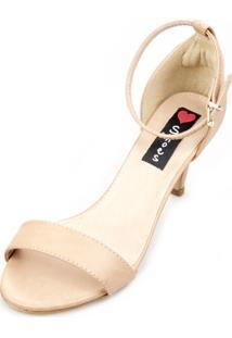 Sandália Salto Baixo Love Shoes Slim Tira Básica Nude
