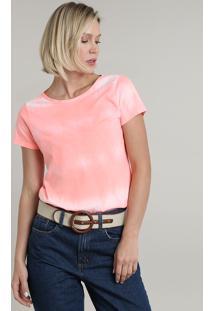 Blusa Feminina Estampada Tie Dye Manga Curta Decote Redondo Rosa Neon
