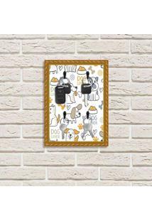 Porta Chaves Decorativo Estampado Luxo Pet Dog Lover Dourado