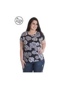 Blusa Feminina Plus Size Viscose Estampada 12817 Floral