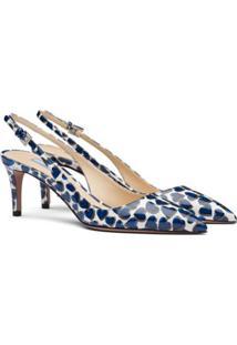 Prada Sapato Com Tira Posterior, Estampa De Coração E Salto 65Mm - Azul