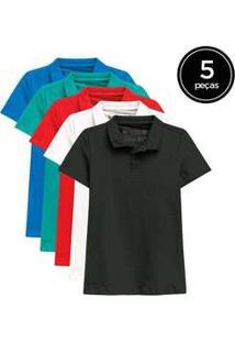 Kit De 5 Camisas Polo Femininas De Várias Cores