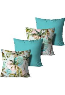 Kit 4 Capas Love Decor Para Almofadas Decorativas Palm Trees Multicolorido Azul
