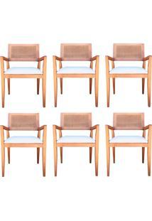 Kit 6 Cadeiras Decorativas Sala De Jantar Megan Amêndoa Linho Bege - Gran Belo - Tricae