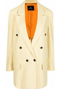 Ps Paul Smith Gingham Double-Breasted Blazer - Amarelo