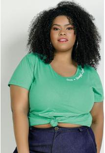 Blusa Verde Com Estampa No Decote Plus Size