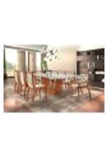 Conjunto De Mesa De Jantar Rubi Com 8 Cadeiras Pérola Iv Veludo Off White E Creme