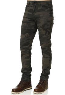 Calça De Sarja Bivik Militar Verde Camuflada