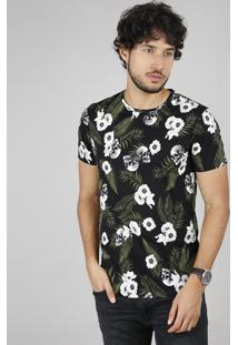Camiseta Masculina Slim Fit Estampada Floral Com Caveira Manga Curta Gola Careca Preta
