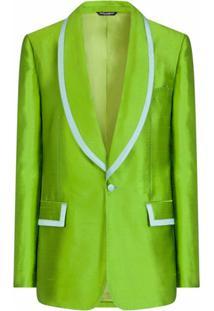 Dolce & Gabbana Blazer De Seda Com Acabamento Contrastante - Verde