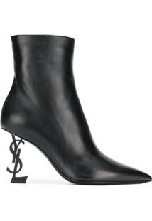 Saint Laurent Ankle Boot 'Opyum' De Couro - Preto
