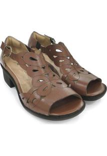 Sandália Couro Dali Shoes Salto Grosso Feminina - Feminino-Marrom