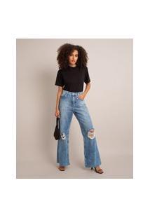 Calça Jeans Wide Leg Destroyed Cintura Super Alta Sawary Azul Médio