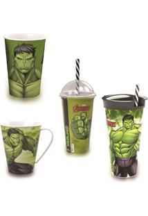 Kit Hulk 3 Copos Diferentes E Caneca Marvel Plasutil 2000