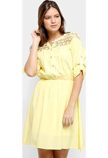 Vestido Only Fashion Curto Guipir - Feminino-Amarelo