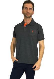 Camisa Polo Mister Fish Slim Sea Horse Com Bolso Masculina - Masculino