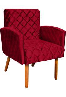 Poltrona Decorativa Veronês Para Sala E Recepção Acetinado Vermelho Trabalhado - D'Rossi