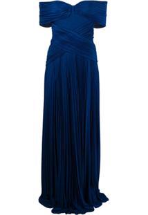 Elisabetta Franchi Vestido Com Pregas - Azul