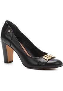 Scarpin Couro Shoestock Salto Alto Bloco - Feminino-Preto