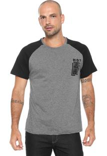 Camiseta Fiveblu Raglan Cinza/ Preta