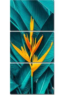 Quadro Oppen House 135X65Cm Canvas Folhas Tropicais Flores Amarela Decorativo Interiores