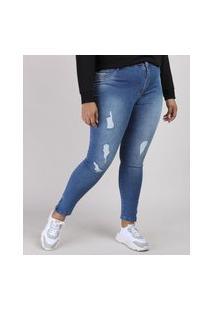 Calça Jeans Feminina Plus Size Sawary Cigarrete Cintura Alta Azul Médio
